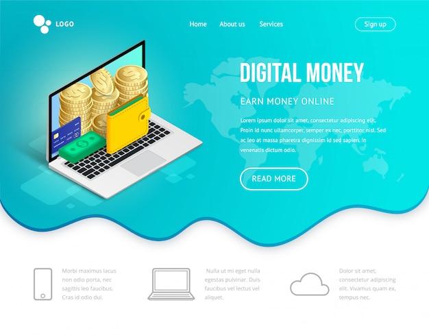Computer portatile isometrico di concetto di sito web di denaro digitale