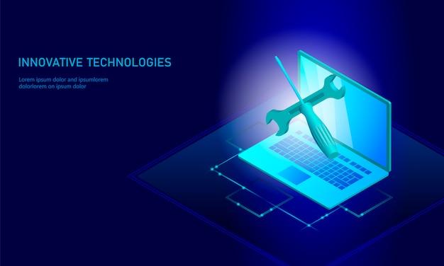 Computer portatile isometrico di riparazione di servizio di computer, cacciavite piano blu tecnico 3d