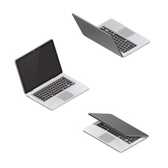 Computer portatile isometrico di vettore isolato su bianco
