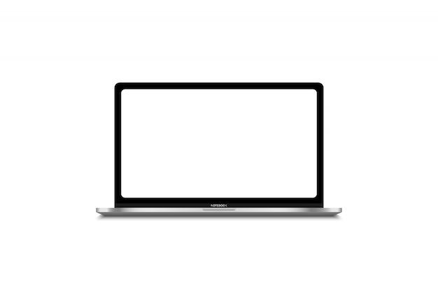Computer portatile moderno isolato sul modello bianco per il contenuto