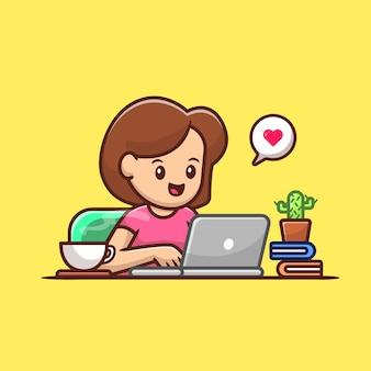 Computer portatile operativo della donna con l'illustrazione di vettore del fumetto del caffè. concetto di tecnologia della gente isolato. stile cartone animato piatto
