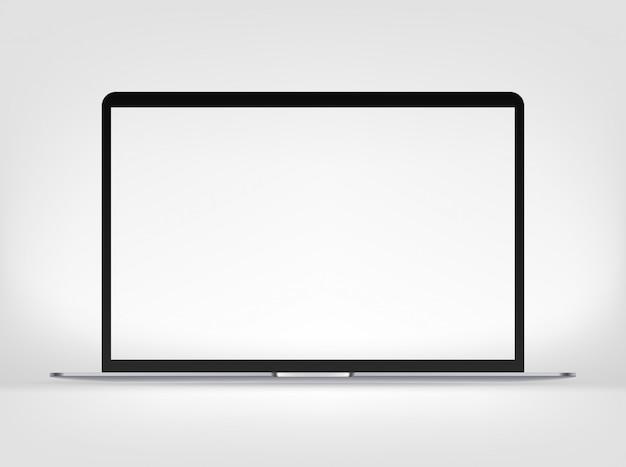Computer portatile sottile premio moderno isolato su fondo bianco