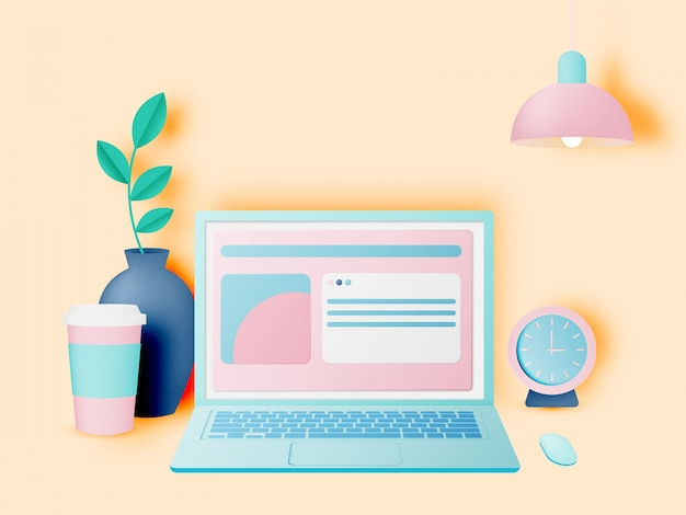 Computer portatile sulla scrivania in casa, stile carta