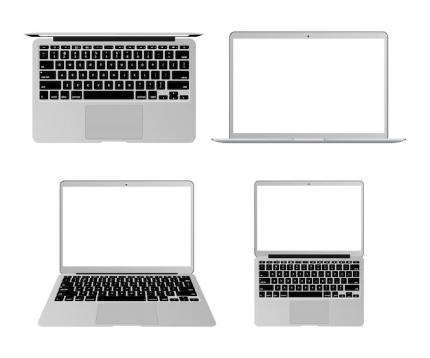 Computer portatili realistici della grande collezione. vista dall'alto posteriore e anteriore. dispositivo generico di raccolta vettoriale. notebook modello per presentazione.