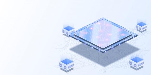 Computer quantistico, elaborazione dati di grandi dimensioni, sala server, concetto di base dati. cpu futuristica. processore quantistico nella rete informatica globale.