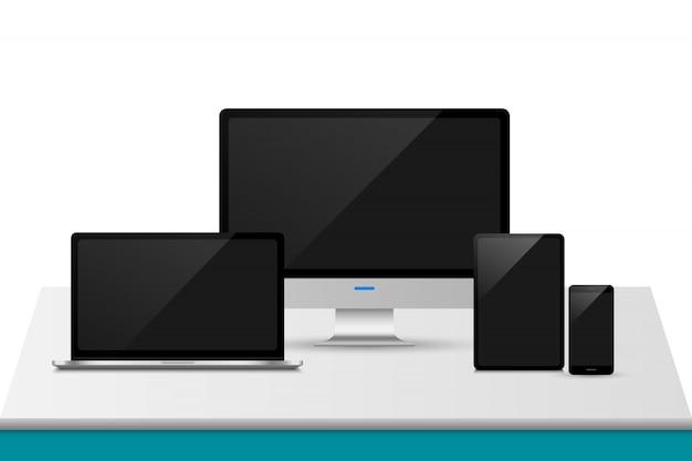 Computer realistico, laptop, tablet e telefono cellulare con isolato, set di dispositivi mockup.