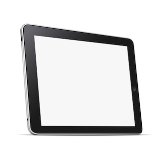 Computer tablet nero (pc) con schermo vuoto isolato