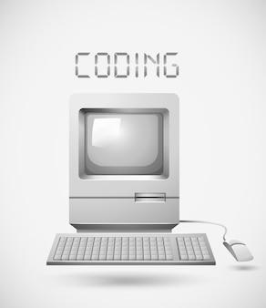 Computer vecchio stile con codifica di parole