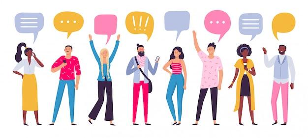 Comunicare le persone. comunicazione di dialogo di chiacchierata, illustrazione di gruppo di persone che parlano o parlano da smartphone