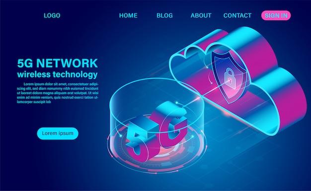 Comunicazione con tecnologia wireless di rete 5g e cloud computing. illustrazione isometrica design piatto