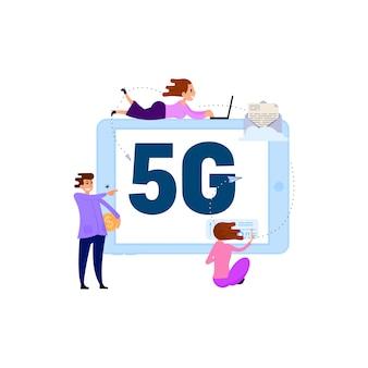 Comunicazione di persone tramite connessione rapida wi-fi concept 5g
