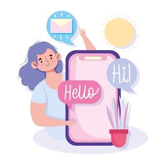 Comunicazione e tecnologia della gente, messaggio di posta elettronica dello smartphone della giovane donna