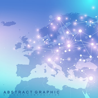Comunicazione grafica di sfondo geometrico con mappa europa. complesso di big data con composti. contesto prospettico. matrice minima. visualizzazione dei dati digitali. illustrazione scientifica cibernetica.