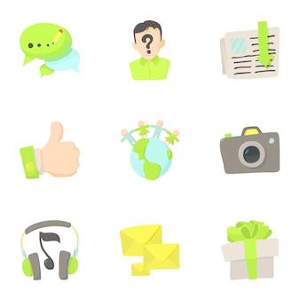 Comunicazione in set di rete, stile cartoon