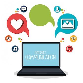 Comunicazione internet imposta icone