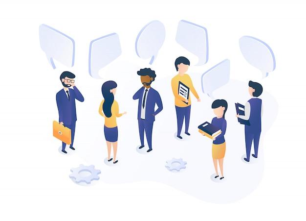Comunicazione sociale. le persone parlano, discutono e conducono un dialogo.