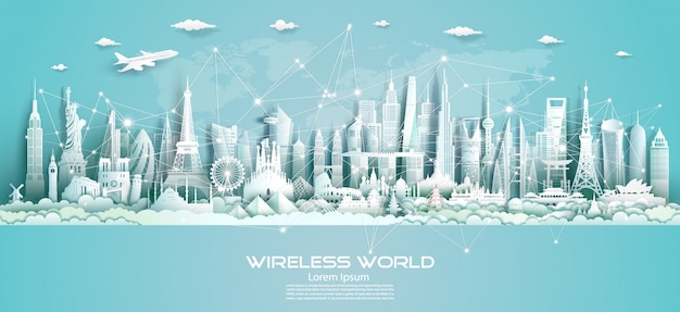 Comunicazione wireless smart city e tecnologia di rete del mondo.