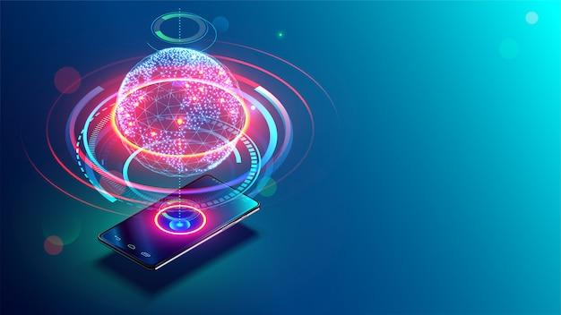 Comunicazioni ad alta velocità con world wide web da qualsiasi parte del mondo tramite telefono cellulare internet