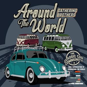 Comunità di auto d'epoca, illustrazione vettoriale auto