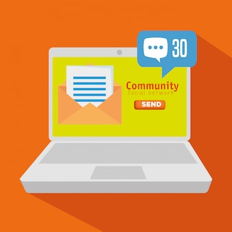 Comunità di laptop con profilo di chat sociale