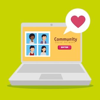 Comunità di persone e laptop con profilo social