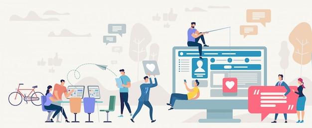 Comunità di social network. illustrazione vettoriale