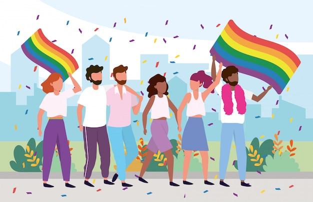 Comunità lgbt con bandiera arcobaleno e orgogliosa