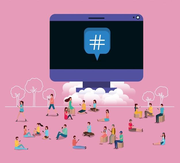 Comunità sociale che utilizza smartphone con computer