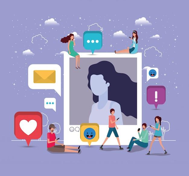 Comunità sociale con foto profilo donna