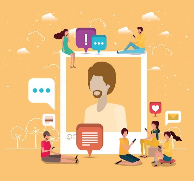 Comunità sociale con foto profilo uomo