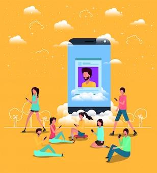 Comunità sociale con smartphone