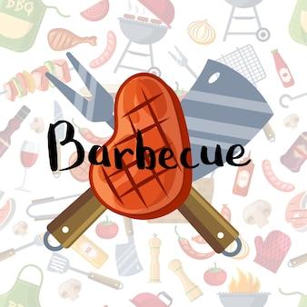 Con carne fritta, coltello e forchetta con scritte su barbecue o elementi grill