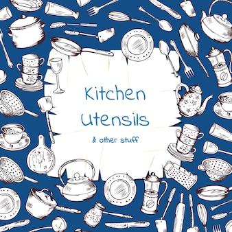 Con gli utensili da cucina raccolti intorno alla carta dei cartoni animati con posto per il testo. cucina e cucina fumetto forcella e padella