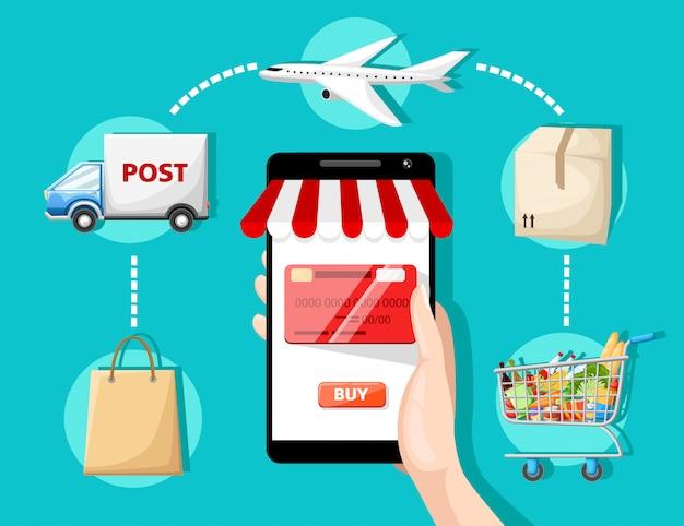 Con icone ed elementi di e-commerce e acquisti online per i simboli della storia mobile del servizio clienti e della consegna del pagamento online del negozio