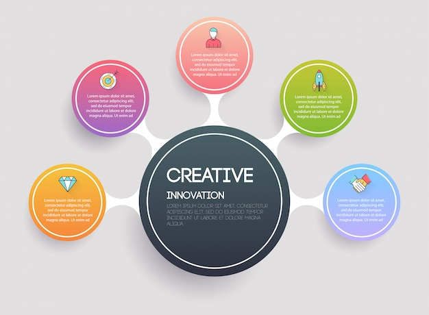 Concept creativo e di marketing. modelli di infografica per le imprese. può essere utilizzato per il layout del sito web, banner numerati, diagramma. concetto moderno di affari di vettore.
