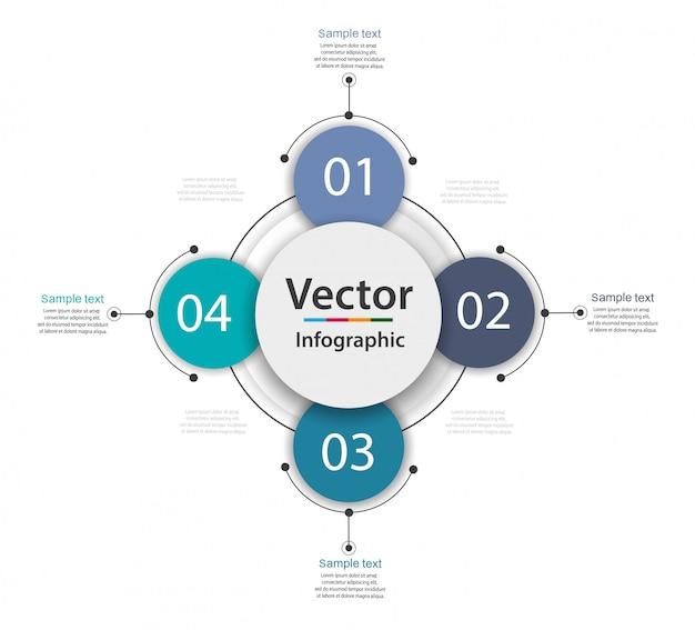 Concept creativo per infografica con 4 passaggi, opzioni, parti o processi