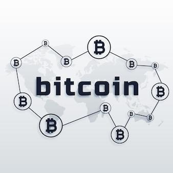 Concept design della rete mondiale di valuta bitcoin