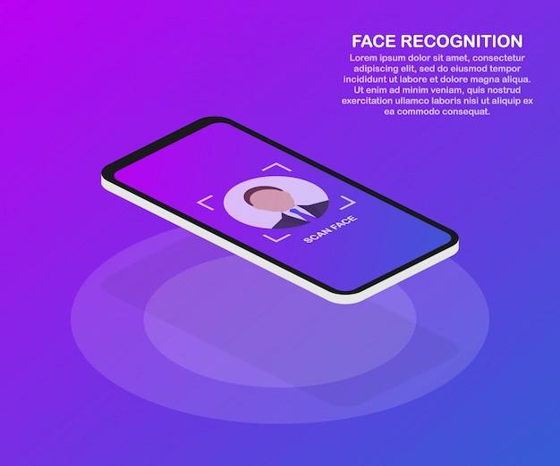 Concept design di riconoscimento facciale.