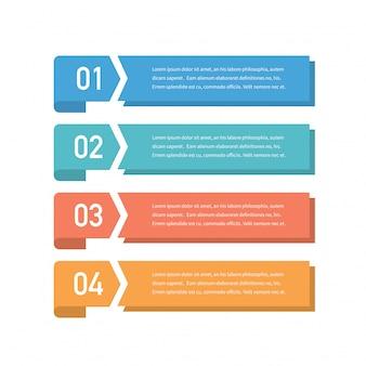 Concept design infografico con quattro opzioni, passaggi o processi. può essere utilizzato per layout del flusso di lavoro, relazione annuale, diagrammi di flusso, diagramma, presentazioni, siti web, banner, materiali stampati.