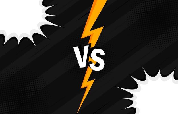 Concept vs. contro. combattimento. design in stile fumetto retrò con mezzetinte, fulmini.