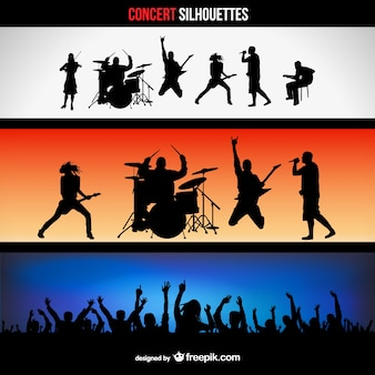 Concerti banner silhouettes set