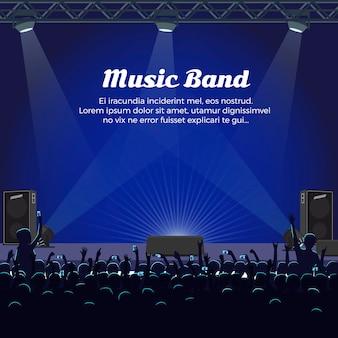 Concerto di musica band al grande palco con faretti