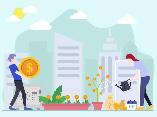 Concetti di illustrazione vettoriale di investimento con caratteri