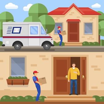 Concetti di servizio postale con trasporto dei pacchi e consegna all'illustrazione di vettore isolata cliente