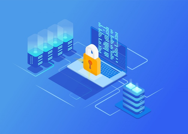 Concetti di sicurezza della rete di protezione isometrica. computer portatile con dati e protezione dagli attacchi degli hacker. sicurezza informatica.