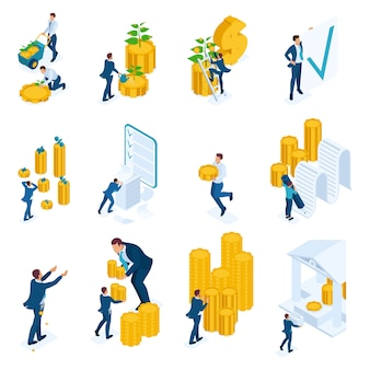 Concetti isometrici di investimento, prestiti bancari, mutui.