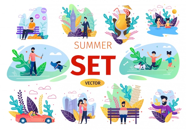 Concetti piani di vettore di attività estive della gente messi