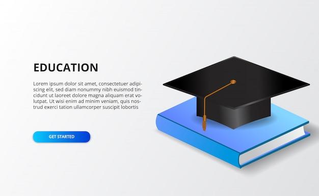 Concetto accademico di istruzione con il cappuccio di graduazione e libro isometrico 3d