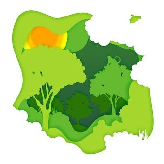 Concetto ambientale della foresta nello stile di carta
