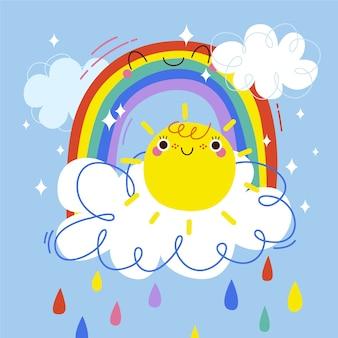Concetto arcobaleno disegnato a mano